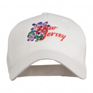 US State New Jersey Violet Flower Embroidered Cap - White