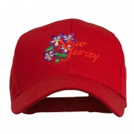 US State New Jersey Violet Flower Embroidered Cap - Red