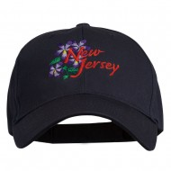 US State New Jersey Violet Flower Embroidered Cap - Navy