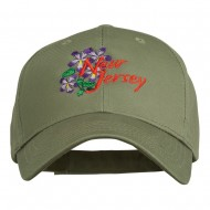 US State New Jersey Violet Flower Embroidered Cap - Olive