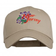US State New Jersey Violet Flower Embroidered Cap - Khaki