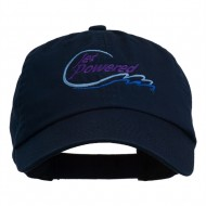 Jet Powered with wave Embroidered Washed Cap - Navy