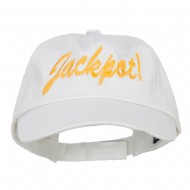Jackpot Embroidered Washed Cap - White
