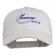 Jet Powered with wave Embroidered Washed Cap - White