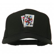 Pinochle Card Game Embroidered Cotton Twill Cap - Black