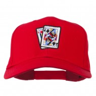 Pinochle Card Game Embroidered Cotton Twill Cap - Red