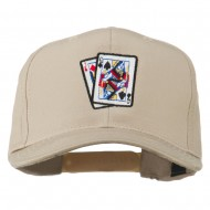 Pinochle Card Game Embroidered Cotton Twill Cap - Khaki