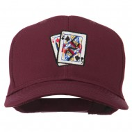Pinochle Card Game Embroidered Cotton Twill Cap - Maroon
