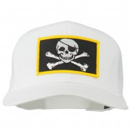 Jolly Roger Skull Patched Mesh Cap - White