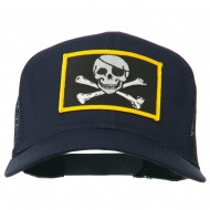 Jolly Roger Skull Patched Mesh Cap - Navy