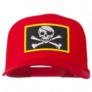 Jolly Roger Skull Patched Mesh Cap - Red