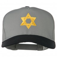 Jewish Star Embroidered Pigment Dyed Cap - Black Grey