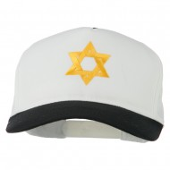 Jewish Star Embroidered Pigment Dyed Cap - Black White
