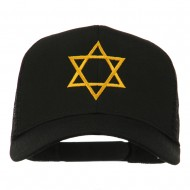 Star of David Embroidered Mesh Back Cap - Black
