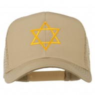 Star of David Embroidered Mesh Back Cap - Khaki