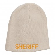 XL Size Sheriff Embroidered Cotton Beanie - Natural
