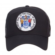 New Jersey State Seal Patched Mesh Cap - Black
