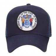 New Jersey State Seal Patched Mesh Cap - Navy