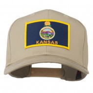 Middle State Kansas Embroidered Patch Cap - Khaki