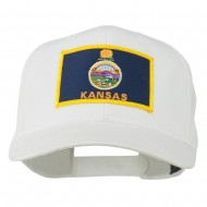 Middle State Kansas Embroidered Patch Cap - White