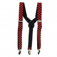 Kid's Colored Checkered Suspenders - Red