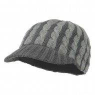 Two Tone Cable Knit Military Cap - Grey