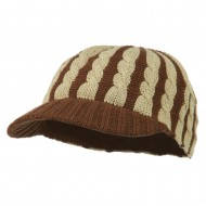 Two Tone Cable Knit Military Cap - Camel
