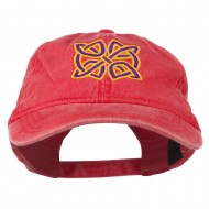 Celtic Circle Knot Embroidered Cotton Twill Cap - Red
