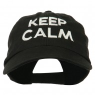 Keep Calm Embroidered Low Profile Washed Cap - Black