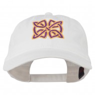 Celtic Circle Knot Embroidered Cotton Twill Cap - White