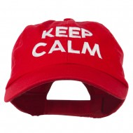 Keep Calm Embroidered Low Profile Washed Cap - Red