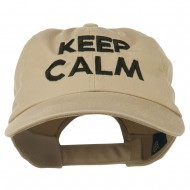 Keep Calm Embroidered Low Profile Washed Cap - Khaki