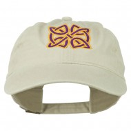 Celtic Circle Knot Embroidered Cotton Twill Cap - Stone