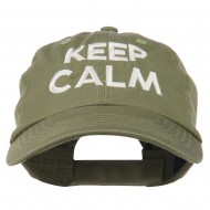 Keep Calm Embroidered Low Profile Washed Cap - Olive