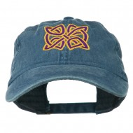 Celtic Circle Knot Embroidered Cotton Twill Cap - Navy