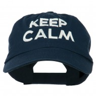 Keep Calm Embroidered Low Profile Washed Cap - Navy