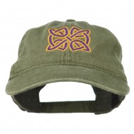 Celtic Circle Knot Embroidered Cotton Twill Cap - Olive