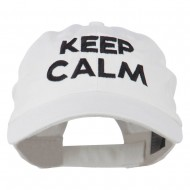 Keep Calm Embroidered Low Profile Washed Cap - White