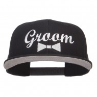 Groom Bow Tie Embroidered Cotton Snapback - Black