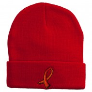 Kidney Cancer Ribbon Embroidered Long Beanie - Red