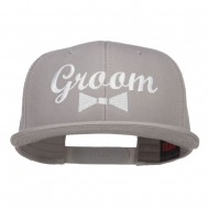 Groom Bow Tie Embroidered Cotton Snapback - Grey