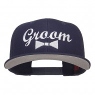 Groom Bow Tie Embroidered Cotton Snapback - Navy