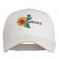 USA State Kansas Sunflower Embroidered Low Profile Cap - White