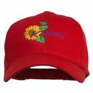 USA State Kansas Sunflower Embroidered Low Profile Cap - Red