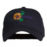 USA State Kansas Sunflower Embroidered Low Profile Cap - Navy