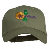 USA State Kansas Sunflower Embroidered Low Profile Cap - Olive