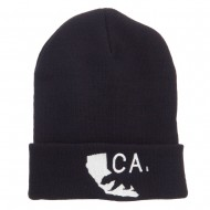California State and Bear Embroidered Long Beanie - Black