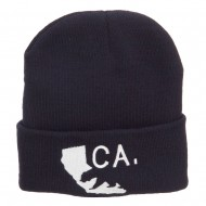 California State and Bear Embroidered Long Beanie - Navy