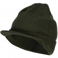 Big Knit Ribbed Beanie with Visor - Olive