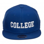College Embroidered Cotton Snapback Cap - Royal